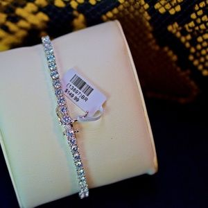 Other - Full Iced Out 14K Wh. Gold Finish Tennis Bracelet